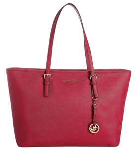 Michael Kors Mk Travel Multifunctional Saffiano Leather Mk Red Tote in Cherry Red/Gold Hardware