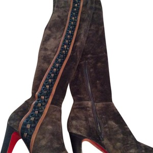 Christian Louboutin Chocolate brown SUEDE with black and Metallic laces Boots
