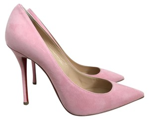 Christian Louboutin Suede Pointed Toe Pink Pumps