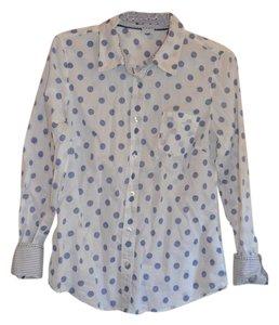 Boden Button Down Shirt White with blue dots