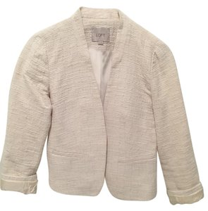 Ann Taylor LOFT Cropped Tweed White Work White Cropped White tweed Blazer
