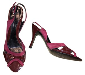 Kenneth Cole Burgundy Suede and Patent Leather Sandals