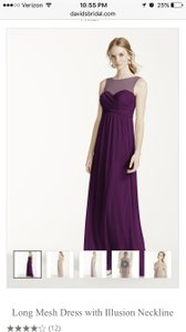 David's Bridal Plum Long Mesh Dress With Illusion Neckline Dress