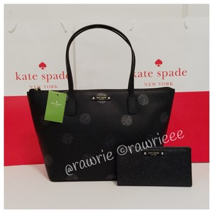 Kate Spade Set Gift Set Glitter Shimmery Matching Set Tote in Black