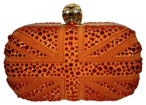 Alexander McQueen Mcqueen Britannia Union Jack Crystal Orange Clutch