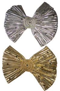Other Hair Barrette Set; Embellished Gold & Silver Pleated Organza Bows [ Roxanne Anjou Closet ]