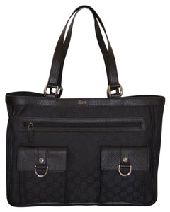 Gucci Leather Messenger Tote in Black