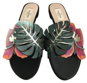 Valentino Flower Satin Black Sandals