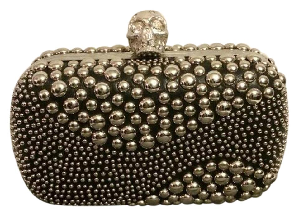 819c83831998a Alexander McQueen Box Studded Leather Crystal Skull Black Clutch ...