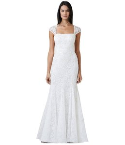 Adrianna Papell Beaded Lace Cap Sleeve Trumpet Wedding Dress