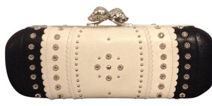 Alexander McQueen Skull Studded Two Tone Black/Cream Clutch