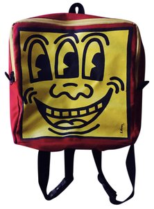 Keith Haring Foundation Vintage Canvas Red Backpack