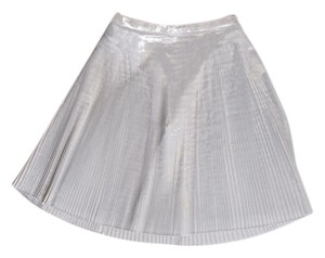 Talbots Pleated A-line Metallic Skirt Silver