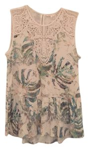 Anthropologie Top Cream multi with pale blue, green, gold.