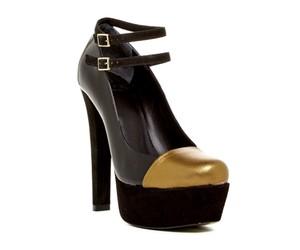 Alepel Leather Suede Pump Black Platforms