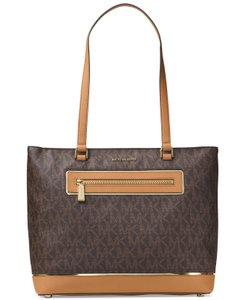 Michael Kors Frame Out Item Large North South Signature Tote in Brown / Gold