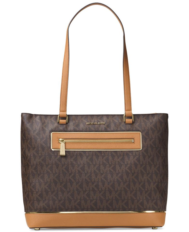 206aef9ee5cc MICHAEL Michael Kors Frame Out Item Large North South Brown / Gold Pvc  Signature / Leather Tote