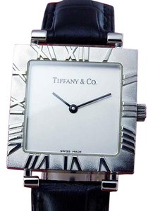 "Tiffany & Co. MidSize TIFFANY "" ATLAS "" Sterling Silver 925 Roman Bezel Quartz SQUAR"
