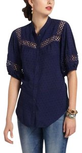 Edme & Esyllte Anthropologie Blue Blue Swiss Dot Top Navy