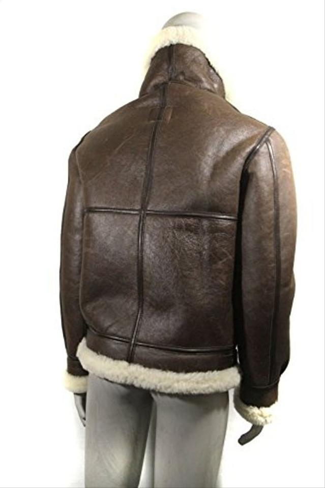 AVIREX Brown Ldt B 3 Leather Sheep Skin Shearling Bomber Jacket W Tag Skirt Suit Size 2 (XS) 45% off retail