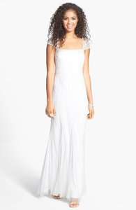 Adrianna Papell Beaded Cap Sleeve Gown Wedding Dress
