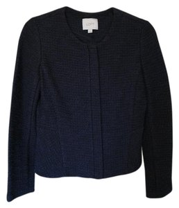 Ann Taylor LOFT Peplum Work Navy tweed Blazer