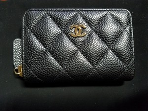 Chanel New without tag Black Caviar Zip Coin Wallet Card holder