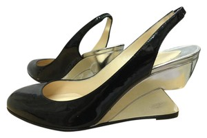 Christian Louboutin Slingbacks Black/Silver Wedges