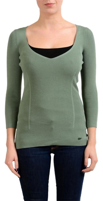 Item - V-neck Knitted Woman's 3/4 Sleeve Green Sweater