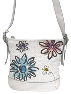 Coach Signature Jacquard Embroidered Suede Floral Cross Body Bag