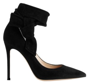 Gianvito Rossi Suede Heels Black Bow Suede Black Pumps
