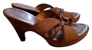 Cole Haan Suede Leather Stacked Wood Heel Brown Sandals
