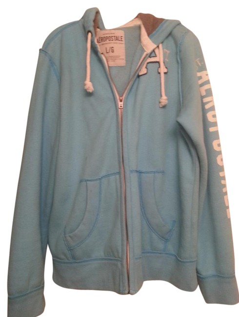 Aéropostale Light Blue and White Hooded Zip-up Jacket Size 16 (XL, Plus 0x) Aéropostale Light Blue and White Hooded Zip-up Jacket Size 16 (XL, Plus 0x) Image 1