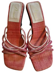Delman Strappy red and cream beaded Sandals