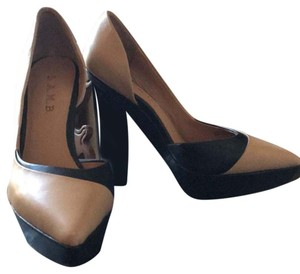 L.A.M.B. Black and Tan, ombr heel Platforms