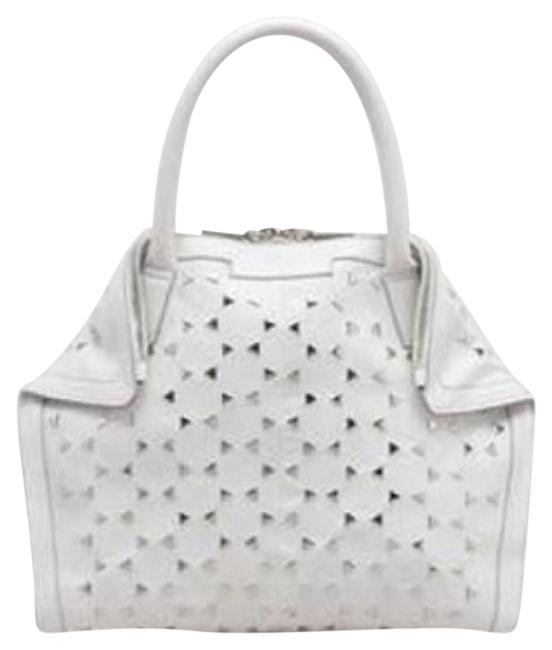 Alexander McQueen Tote Bag White Leather Triangle Studded De Manta Demanta Black/Red Clutch Alexander McQueen Tote Bag White Leather Triangle Studded De Manta Demanta Black/Red Clutch Image 1