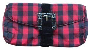 J.Crew Envelope Plaid Red and Black Clutch