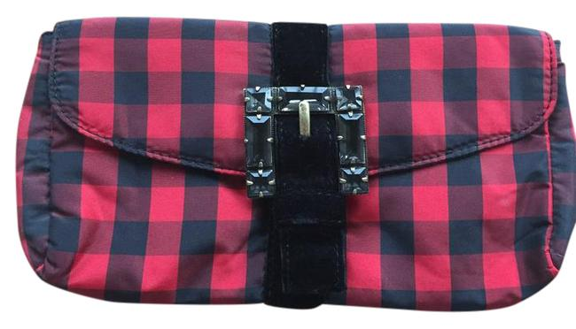 Item - Plaid Envelope Red and Black Silk Clutch