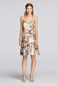 David's Bridal Multicolor Short Strapless Printed Lace Dress Dress
