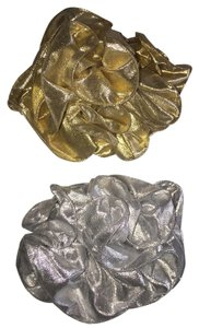 Other 2-Hair Clamp Set; Ruffled Tissue Lame'; Silver & Gold