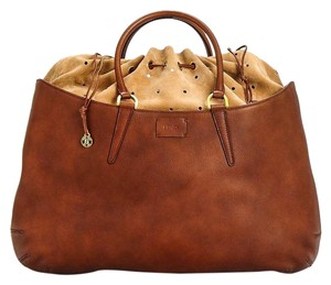 Fendi Borsa Vitello Drawstring Tote in Brown