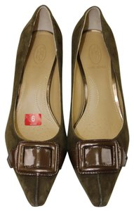 Circa Joan & David Suede Buckle Brown Metallic Brown Suede Pumps