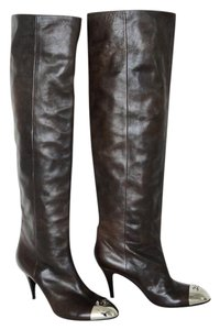 Chanel Knee High Silver Logo brown Boots