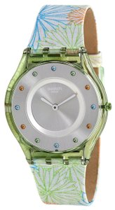 Swatch SFG105 Pique-nique Silver Dial Patterned Leather Strap Women's Watch