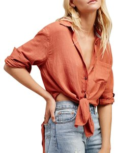 Free People Wrap Button Down Shirt PInk