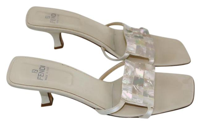 Item - White Mother-of-pearl Shell Vamps Mule Kitten Resort Vacation Sandals Size US 9.5 Narrow (Aa, N)
