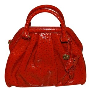 Brahmin Rose Croco Embossed Leather 100% Red Satchel in Glossy Red