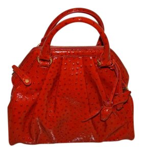 Brahmin Rose Croco Red 100% Embossed Leather Satchel in Glossy Red