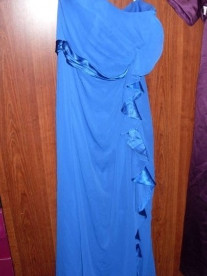 David's Bridal Horizon Blue Crinkle Chiffon and Charmeuse F14336 Formal Bridesmaid/Mob Dress Size 14 (L)