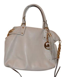 MICHAEL Michael Kors Megan Gold Hardware Leather Satchel in Vanilla
